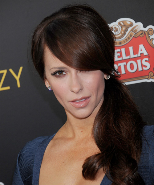 Jennifer Love Hewitt  Long Curly Formal   Half Up Hairstyle with Side Swept Bangs  - Dark Mocha Brunette Hair Color - Side on View