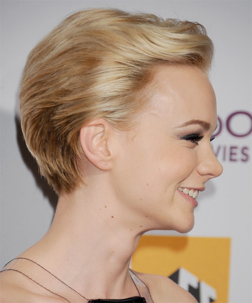 Carey Mulligan Short Straight Formal    Hairstyle   - Medium Champagne Blonde Hair Color with Light Blonde Highlights - Side on View