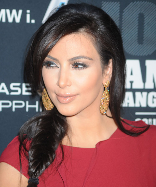 Kim Kardashian Half Up Long Curly Casual Braided Half Up Hairstyle   - Black - Side on View