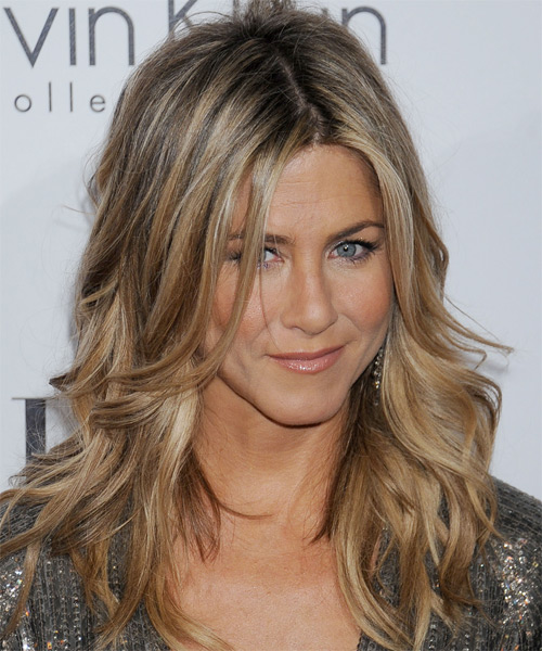 Jennifer Aniston Long Wavy Casual    Hairstyle   - Dark Champagne Blonde Hair Color with Light Blonde Highlights - Side on View
