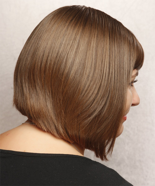 Medium Straight Formal   Hairstyle with Side Swept Bangs  - Light Brunette (Chestnut) - Side on View