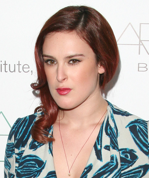 Rumer Willis Medium Wavy   Dark Auburn Red   Hairstyle   - Side on View