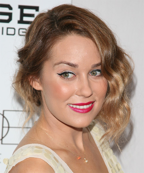 Lauren Conrad Half Up Long Curly Casual  Half Up Hairstyle   - Light Brunette - Side on View