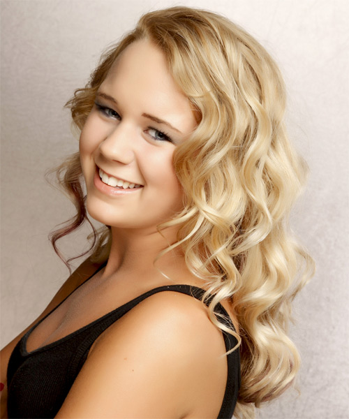 Long Wavy Formal   Hairstyle with Side Swept Bangs  - Light Blonde (Golden) - Side on View