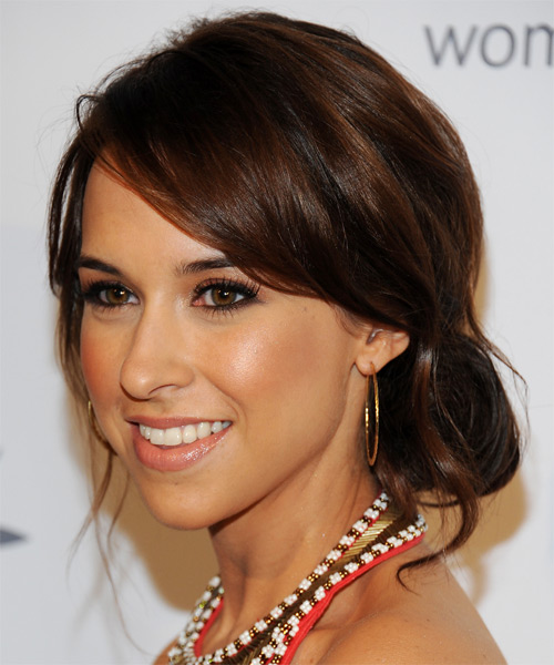 Lacey Chabert  Long Straight   Dark Brunette  Updo  with Side Swept Bangs  and  Brunette Highlights - Side on View