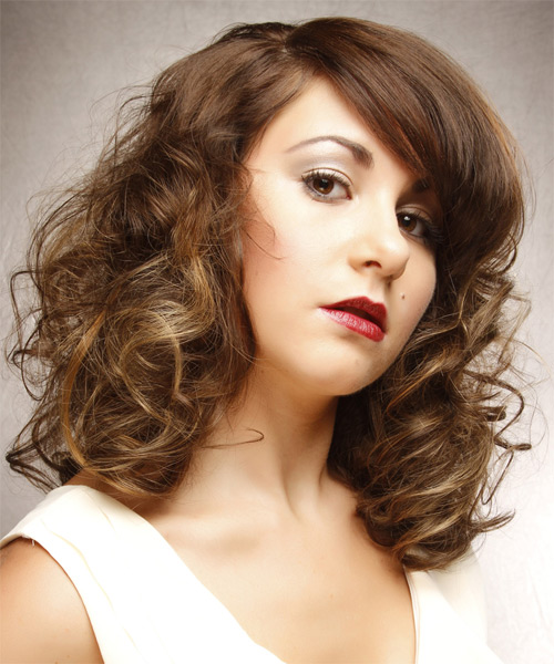 Medium Curly   Light Brunette   Hairstyle with Side Swept Bangs  and Light Blonde Highlights - Side on View