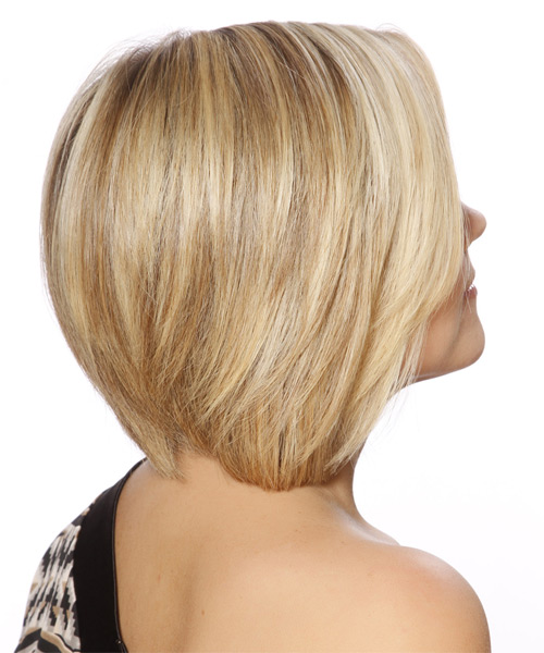Short Straight Formal Layered Bob  Hairstyle   - Light Blonde Hair Color with Dark Blonde Highlights - Side on View