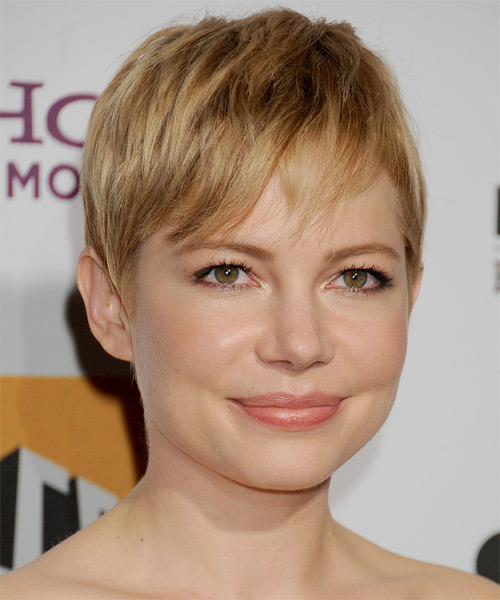 Michelle Williams   Layered  Dark Golden Blonde Pixie  Cut with Side Swept Bangs  and Light Blonde Highlights - Side on View