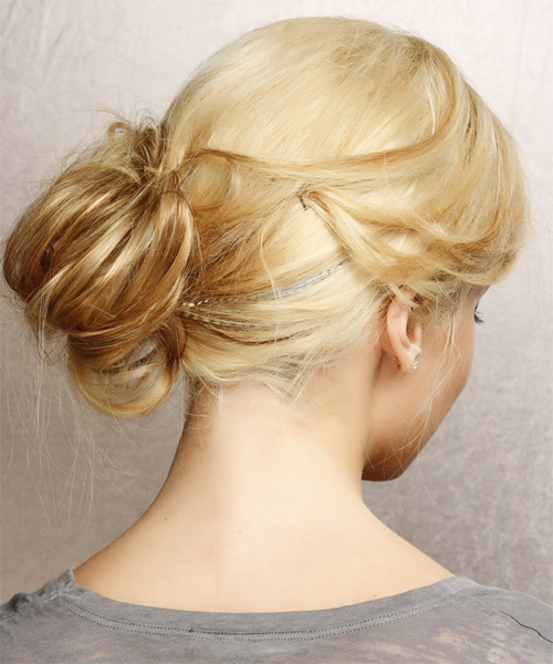 Updo Long Straight Casual  Updo Hairstyle   - Light Blonde (Golden) - Side on View