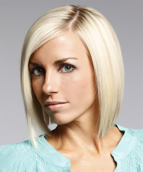 Medium Straight Layered  Light Platinum Blonde Bob  Haircut   - Side on View