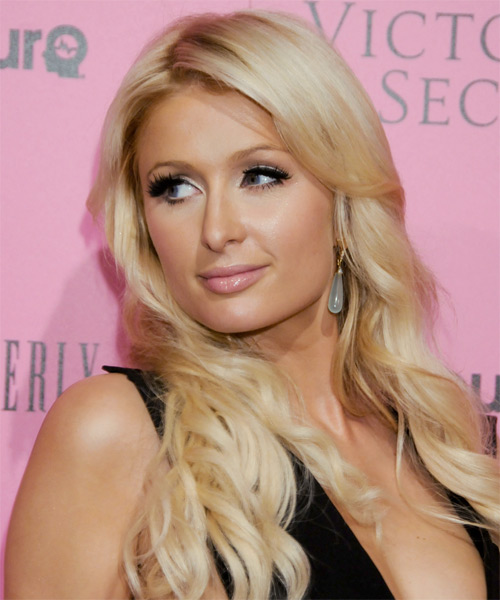 Paris Hilton Long Wavy Casual   Hairstyle   - Light Blonde (Honey) - Side on View