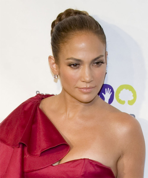 Jennifer Lopez  Long Curly Formal  Braided Updo Hairstyle   - Light Brunette Hair Color - Side on View