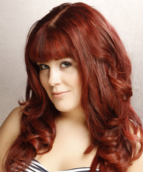 Long Wavy Formal   Hairstyle with Blunt Cut Bangs  - Dark Red (Bright) - Side on View
