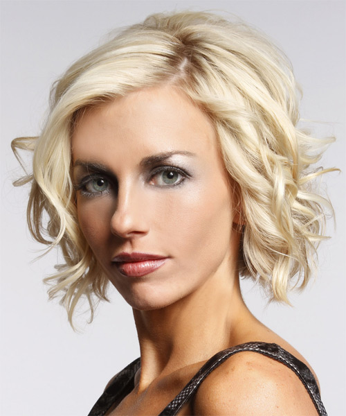 Short Wavy Formal Layered Bob  Hairstyle   - Platinum Hair Color with  Blonde Highlights - Side on View