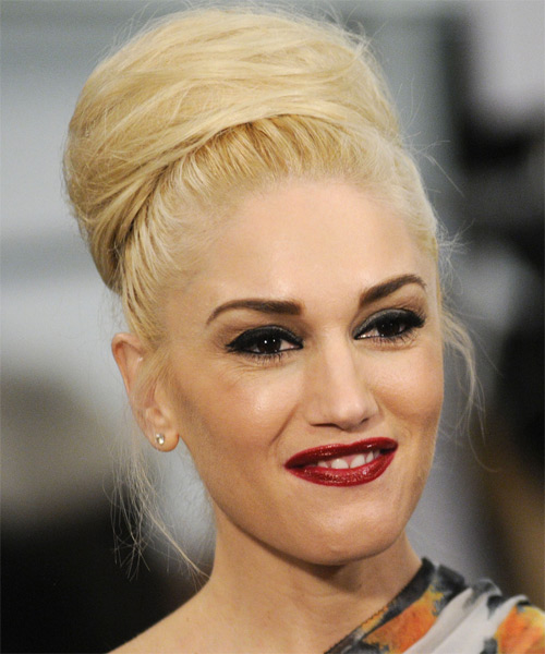 Gwen Stefani  Long Straight Formal   Updo Hairstyle   - Light Golden Blonde Hair Color - Side on View