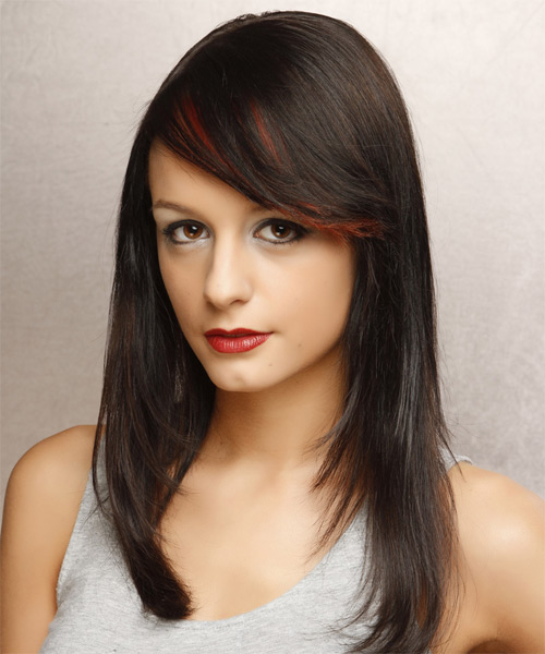 Long Straight Hairstyle with Side-Swept Eye-Skimming Fringe
