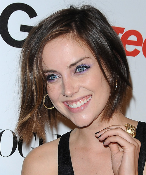 Jessica Stroup Medium Straight Casual Bob  Hairstyle   - Dark Brunette - Side on View