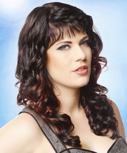 Long Curly Formal    Hairstyle with Blunt Cut Bangs  - Dark Brunette Hair Color with Dark Red Highlights - Side on View