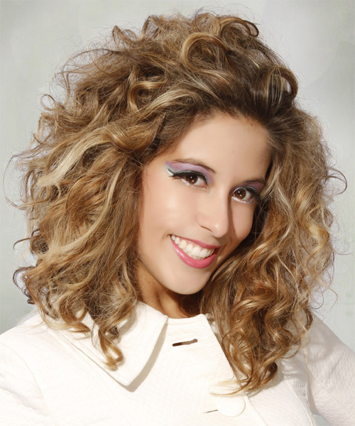 Medium Curly Casual    Hairstyle   - Dark Blonde Hair Color with Light Blonde Highlights - Side on View