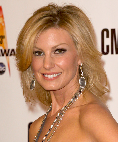 Faith Hill Medium Straight Formal   Hairstyle with Side Swept Bangs  - Dark Blonde (Golden) - Side on View