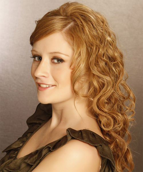 Long Curly Formal   Hairstyle with Side Swept Bangs  - Light Red (Ginger) - Side on View