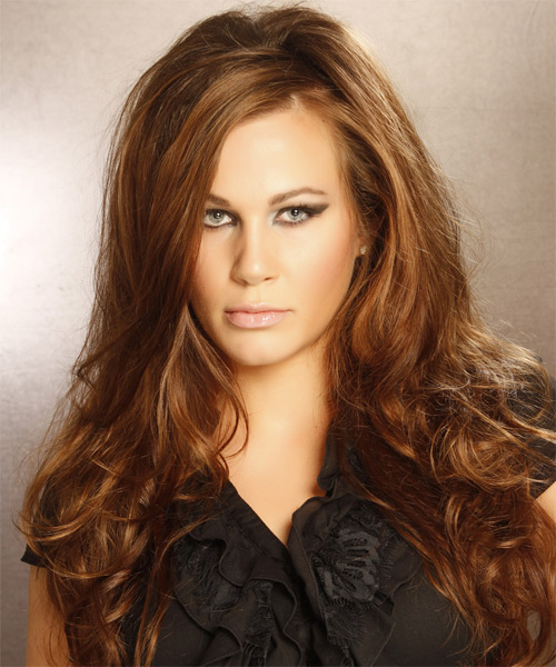 Long Wavy Formal   Hairstyle   - Light Brunette (Chestnut) - Side on View