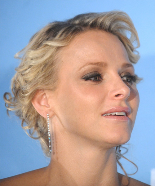 Princess Charlene of Monaco  Long Curly Formal   Updo Hairstyle   - Dark Champagne Blonde Hair Color with Light Blonde Highlights - Side on View