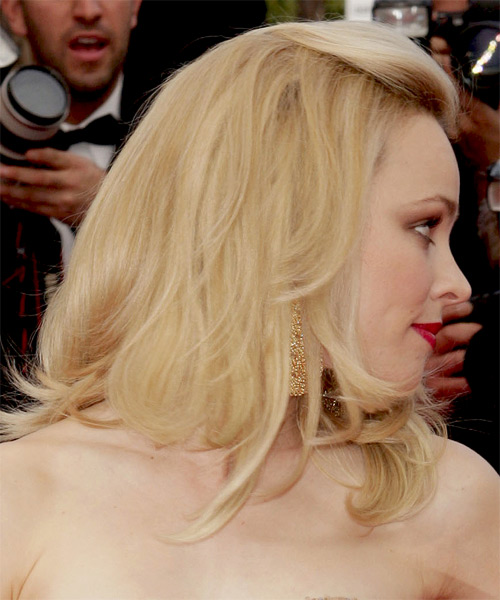 Rachel McAdams Half Up Medium Straight Formal  Half Up Hairstyle   - Medium Blonde (Golden) - Side on View