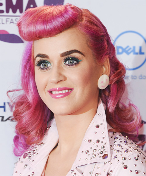 Katy Perry Long Wavy Alternative   Hairstyle   - Pink (Bright) - Side on View