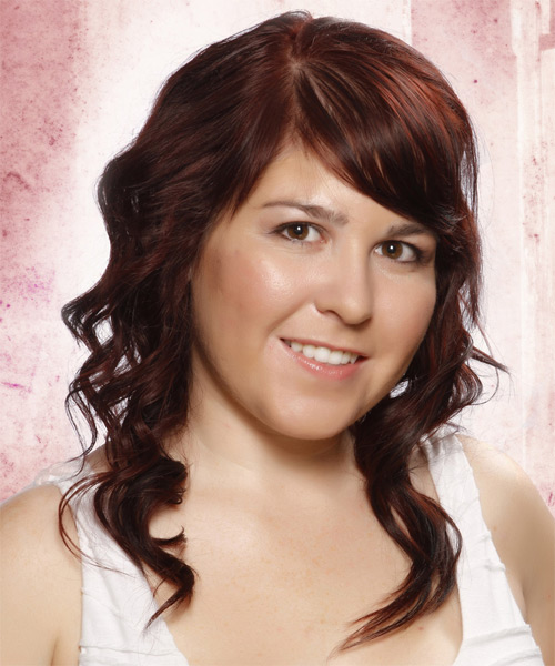 Medium Wavy   Dark Auburn Red   Hairstyle with Side Swept Bangs  and Light Blonde Highlights - Side on View