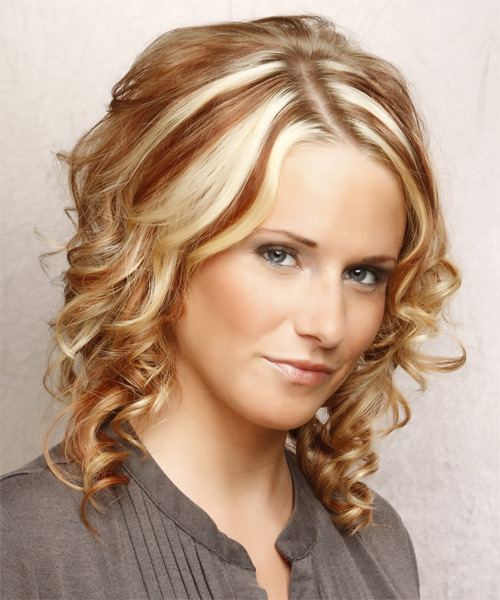 Medium Curly Formal   Hairstyle   - Light Blonde - Side on View