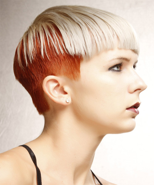 Short Straight Alternative  Asymmetrical  Hairstyle with Blunt Cut Bangs  - Light Ginger Blonde and Light Red Two-Tone Hair Color - Side on View
