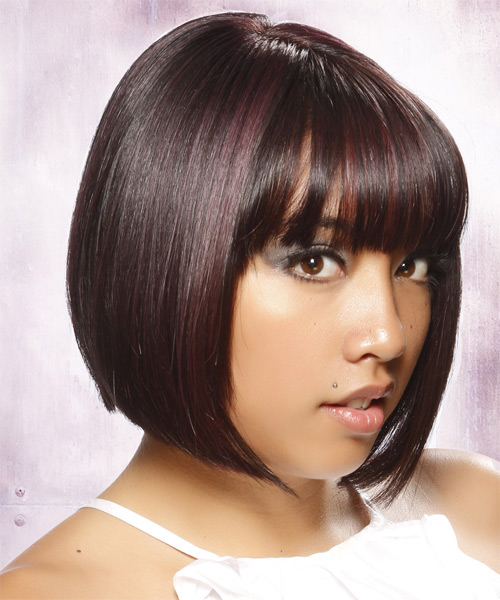 Short Straight Layered  Dark Brunette Bob  Haircut with Blunt Cut Bangs  and Purple Highlights - Side on View