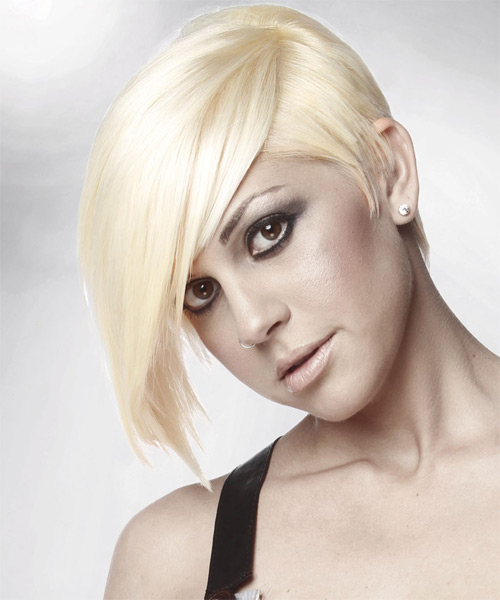 Short Straight   Light Platinum Blonde   Hairstyle with Side Swept Bangs  - Side on View