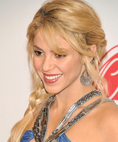 Shakira  Long Curly   Light Golden Blonde  Half Up Hairstyle with Side Swept Bangs  - Side on View