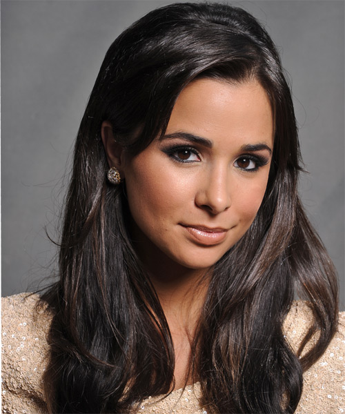 Josie Loren Long Straight Casual   Hairstyle   - Black - Side on View