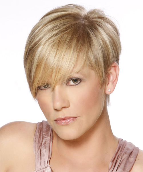 Short Straight   Dark Golden Blonde   Hairstyle with Side Swept Bangs  and Light Blonde Highlights - Side on View