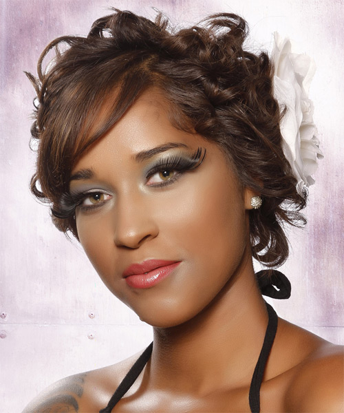 Updo Long Curly Formal  Updo Hairstyle with Side Swept Bangs  (Chocolate) - Side on View