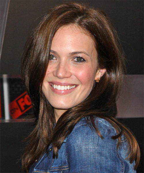 Mandy Moore Long Straight Casual   Hairstyle   - Dark Brunette (Chocolate) - Side on View