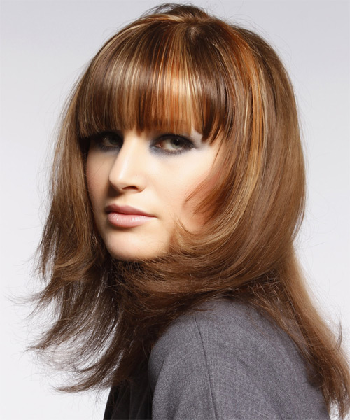 Medium Straight    Copper Brunette   Hairstyle with Blunt Cut Bangs  and Light Blonde Highlights - Side on View