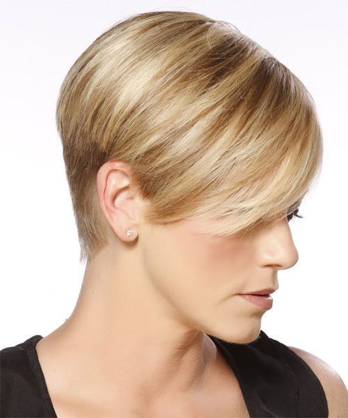 Short Straight Formal Layered Pixie  Hairstyle with Side Swept Bangs  -  Blonde Hair Color with Dark Blonde Highlights - Side on View