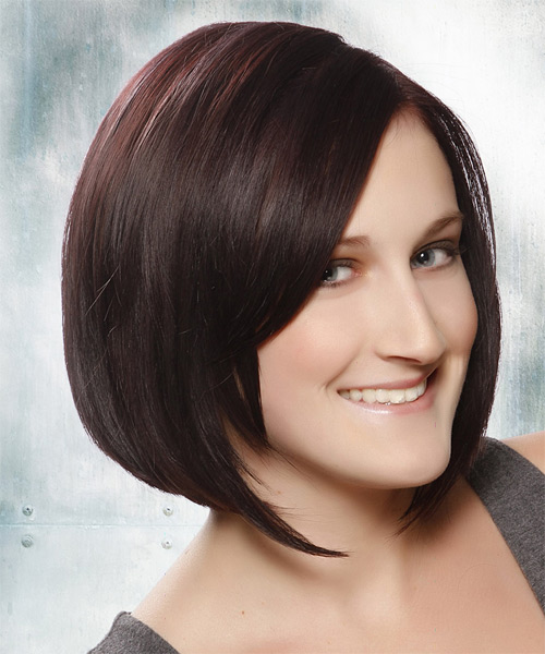 Medium Straight Layered  Dark Plum Brunette Bob  Haircut   with Dark Red Highlights - Side on View