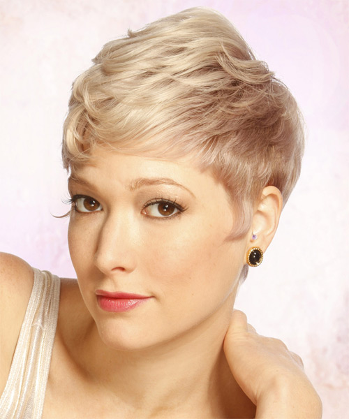 Short Straight Formal   Hairstyle with Layered Bangs  - Light Blonde (Strawberry) - Side on View