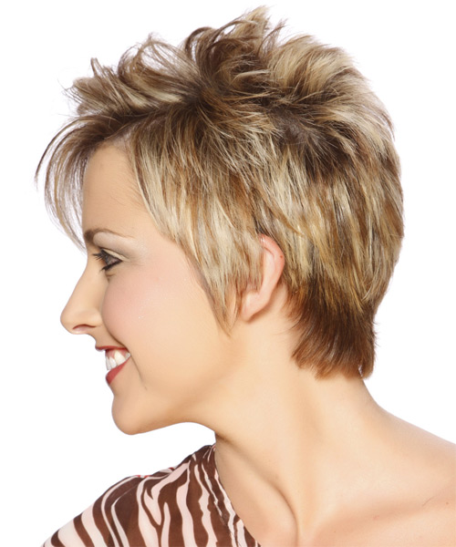 Short Straight    Caramel Blonde   Hairstyle with Side Swept Bangs  and Light Brunette Highlights - Side on View
