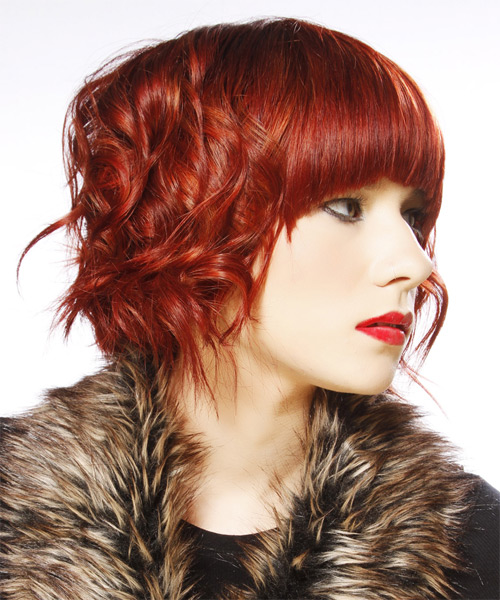 Medium Wavy Alternative    Hairstyle with Blunt Cut Bangs  - Dark Bright Red Hair Color - Side on View