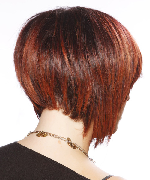 Short Straight Casual Bob  Hairstyle with Side Swept Bangs  - Dark Red - Side on View