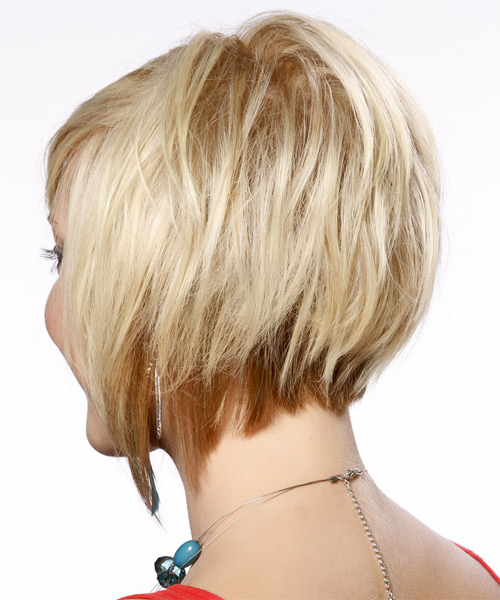 Short Straight Formal Layered Bob  Hairstyle with Side Swept Bangs  - Light Platinum Blonde Hair Color - Side on View