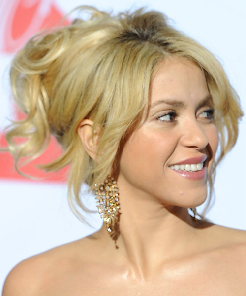 Shakira  Long Straight Formal   Updo Hairstyle with Layered Bangs  - Light Golden Blonde Hair Color - Side on View