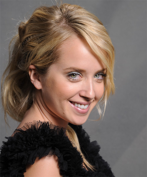Megan Park  Long Curly Formal   Updo Hairstyle with Side Swept Bangs  - Dark Golden Blonde Hair Color with Light Blonde Highlights - Side on View