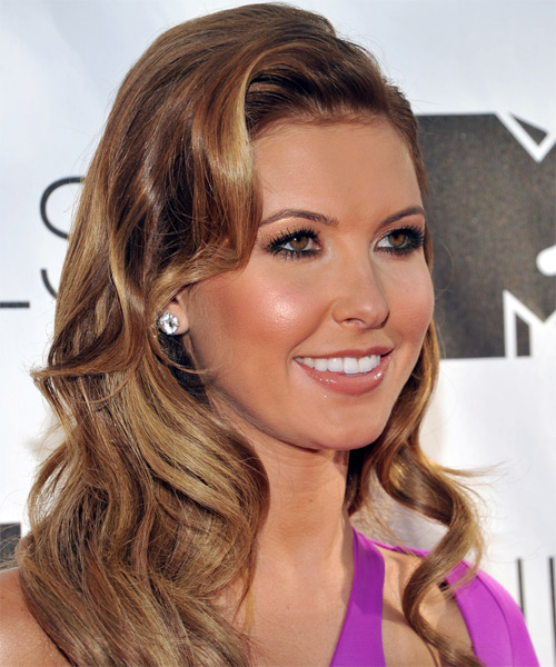 Audrina Patridge Long Wavy Formal    Hairstyle   - Medium Caramel Brunette Hair Color with Medium Blonde Highlights - Side on View